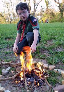 trailman making fire